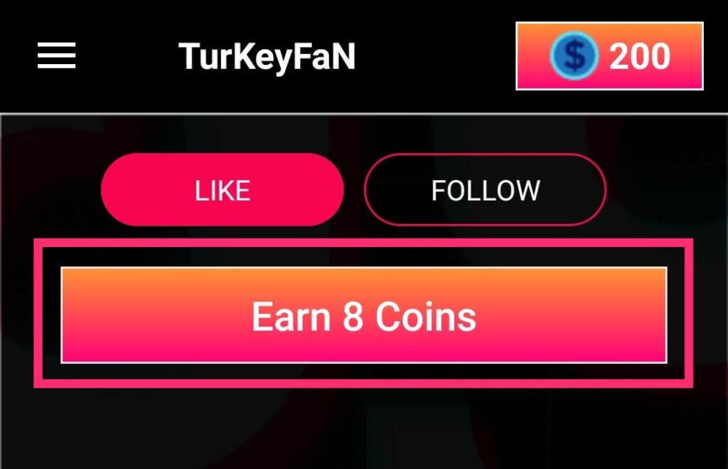 Earn coins in Turkey Fan app