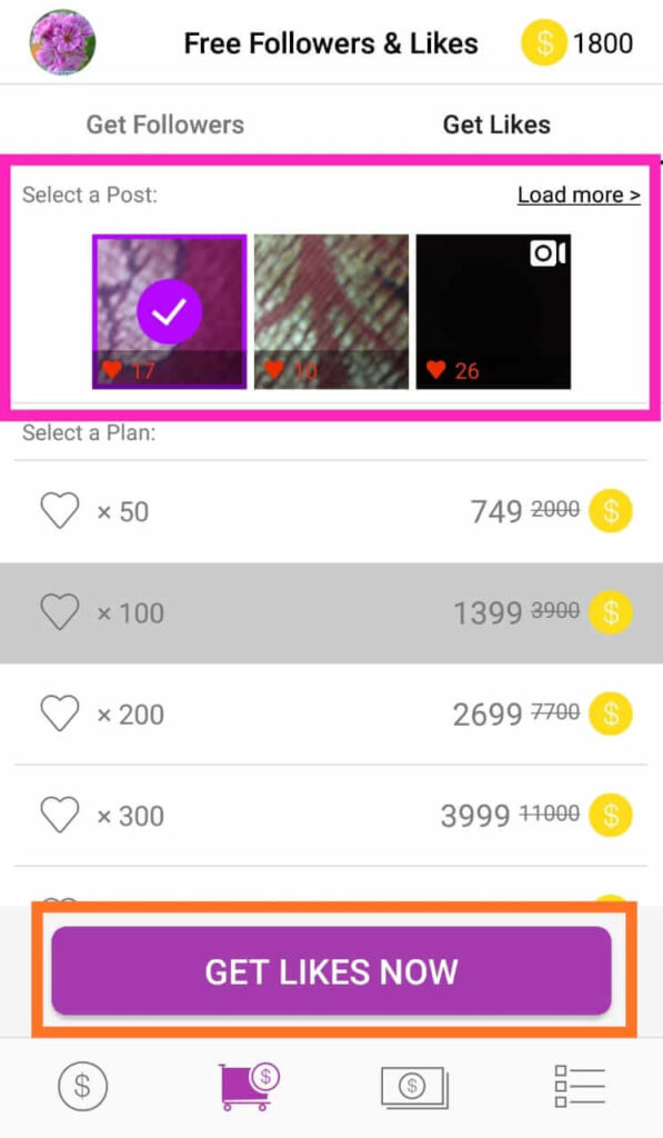 Choose photo and get Instagram likes