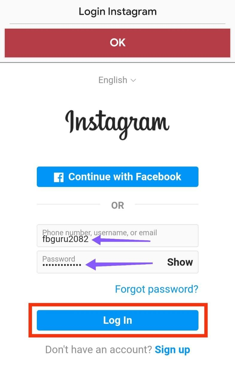 Login Your Fake Account Into This App